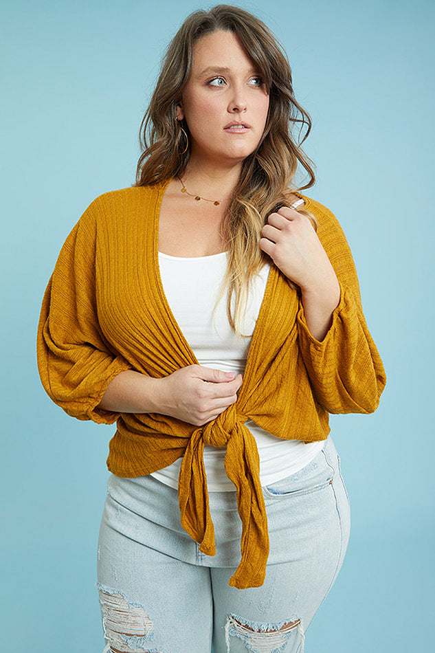 Knot Front Cardi (1X-3X)