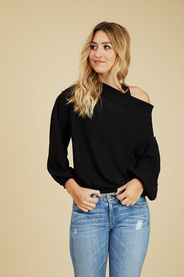 LAST ONE LEFT- Off-Shoulder Open Knit Waffle