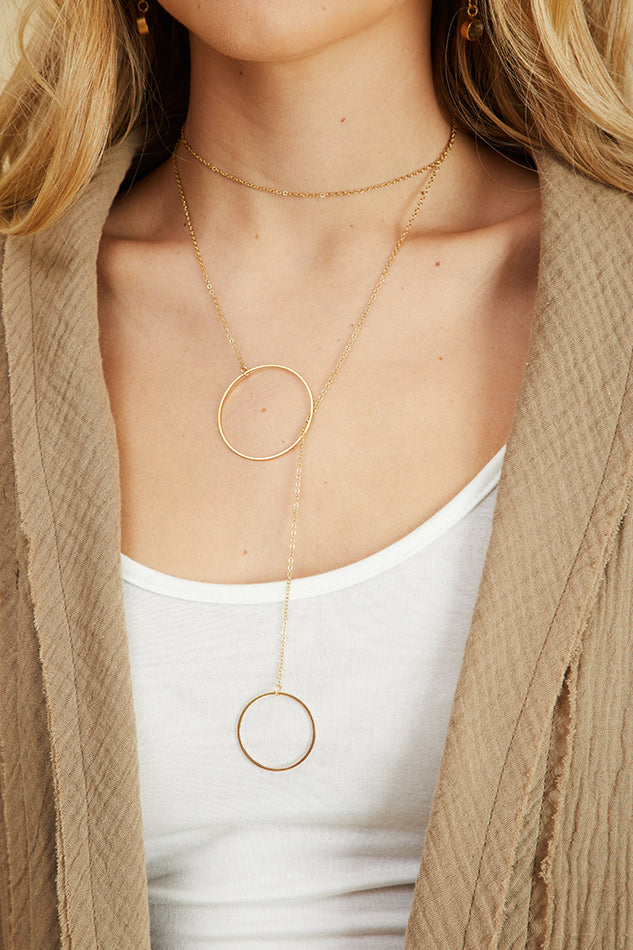 18k Gold Plated Double Hoop Lariat Necklace
