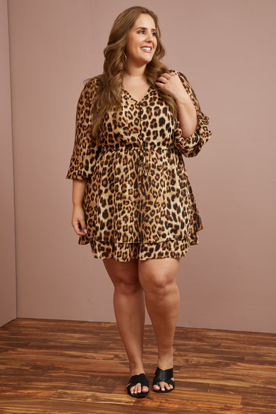 LAST ONE LEFT- Charmed Leo Mini Dress (1X-3X)