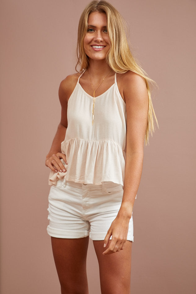 LAST ONE LEFT- Opal Rose Ruffle Tank