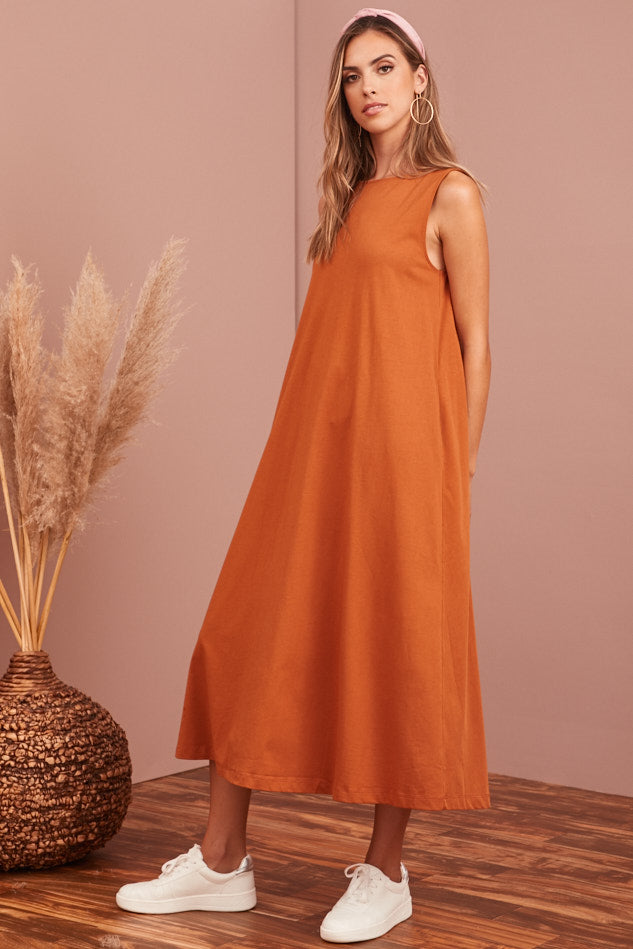 BACK IN STOCK- Terra-Cotta Cotton Midi Dress