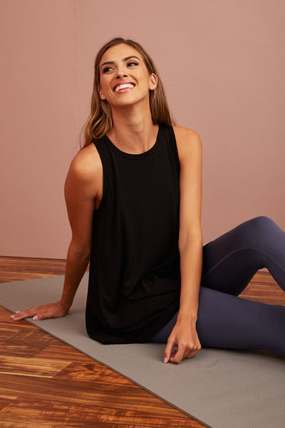 Super Soft Bamboo Swing Tank- Black