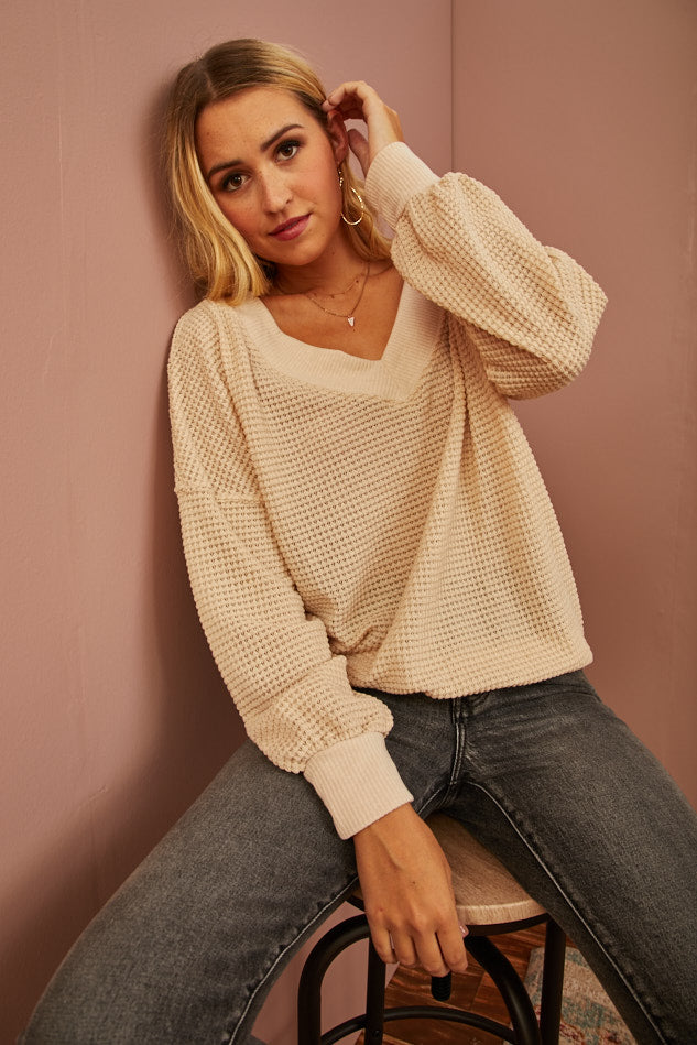 Ivory Waffle Knit Pullover