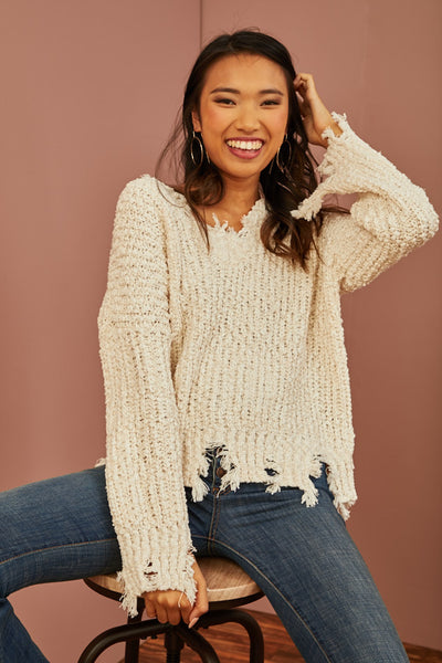 Ivory Frayed Sweater