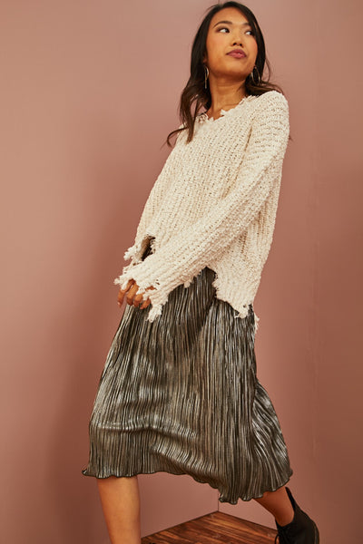 Metallic Swing Midi Skirt
