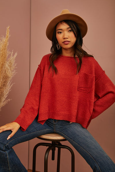 Chestnut Seamed Sweater