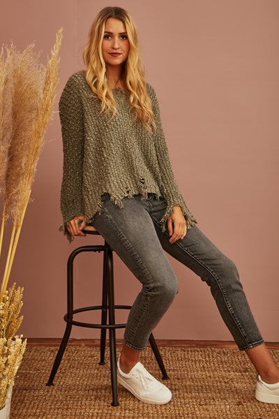 Cypress Frayed Sweater