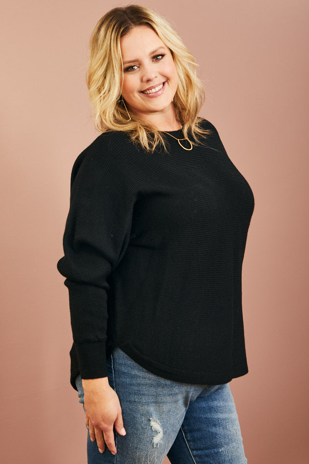 Ribbed Boatneck Sweater (1X-3X)