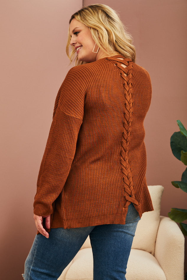 Braided Back Cardigan (1X-3X)