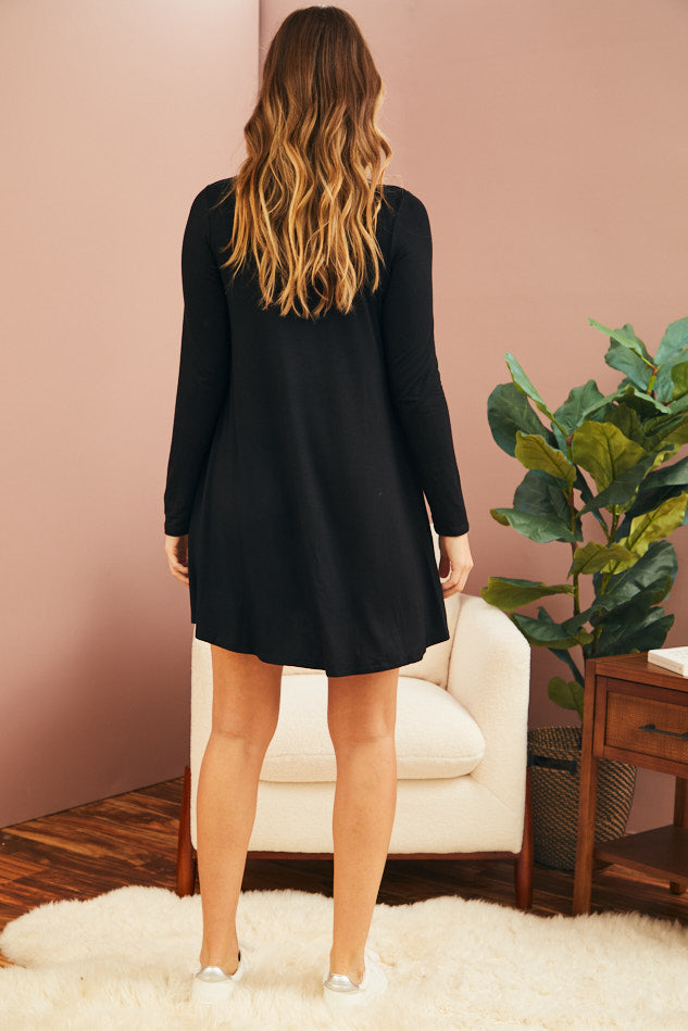Soft Bamboo Mini Dress - Black