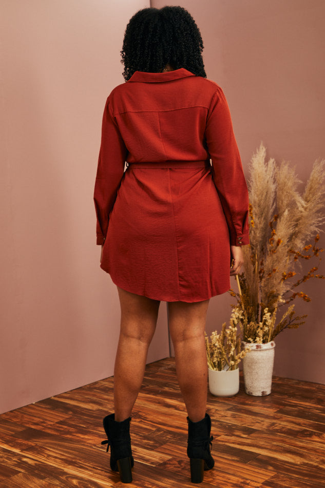 Autumn Spice Shirt Dress (1X-3X)
