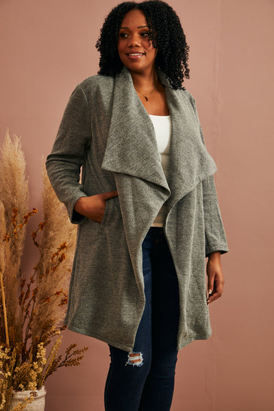 Heathered Waterfall Jacket (1X-3X)