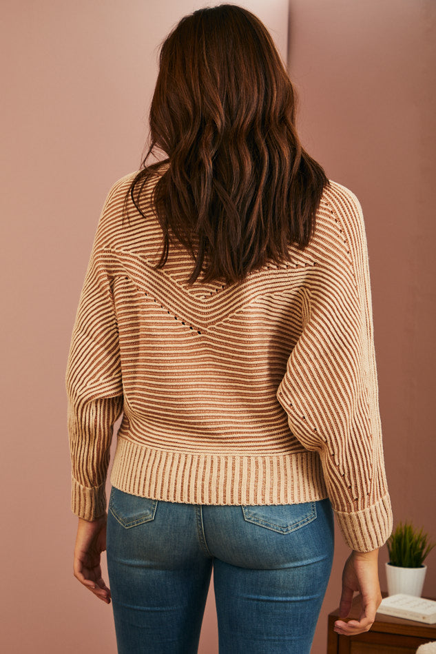 Oat Pointelle Knit Sweater