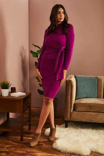 LAST ONE LEFT- Magenta Sweater Dress