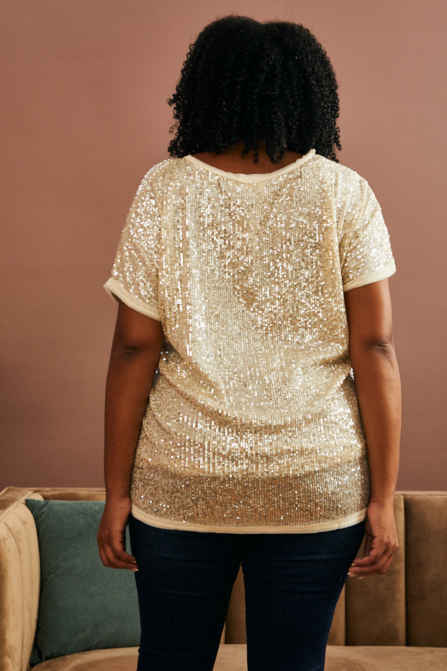 Stitched Sequin Tee (1X-3X)