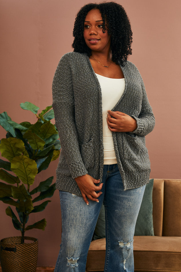 Shadow Ribbed Cardi (1X-3X)