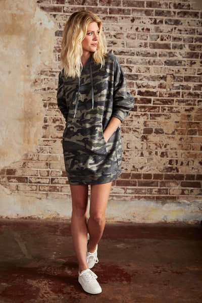 Metallic Camo Hoodie Dress