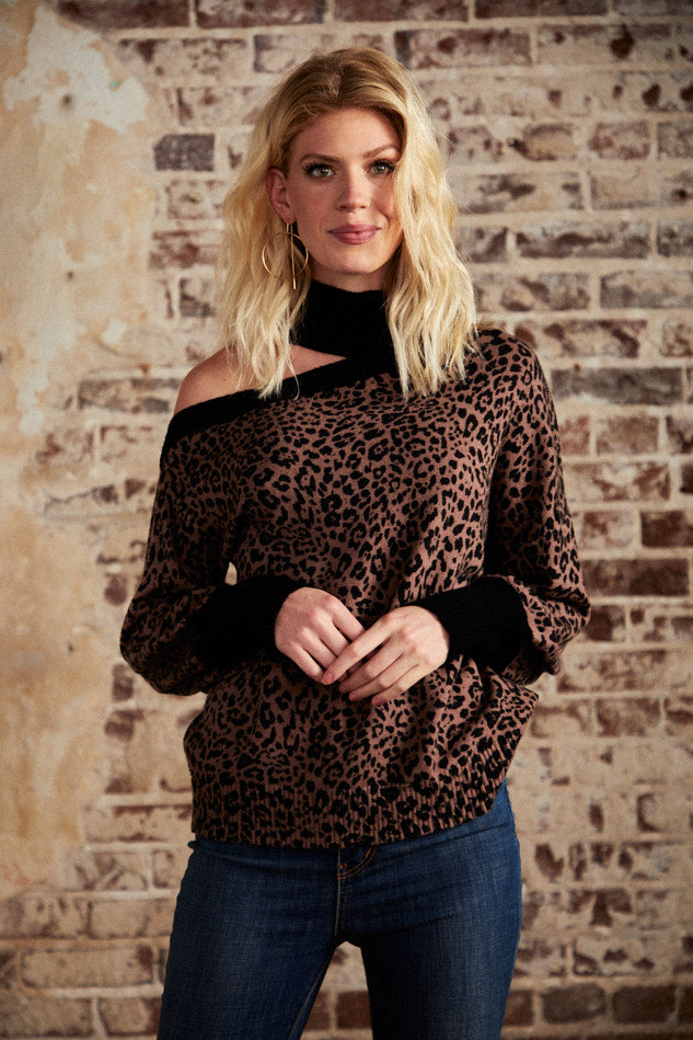 BACK IN STOCK- Open Shoulder Leopard Sweater