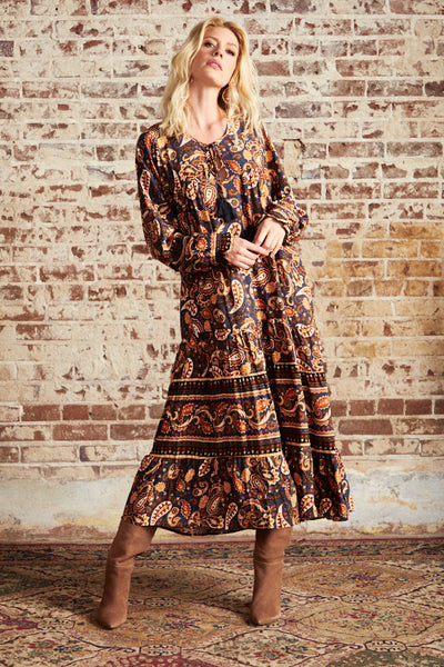 Red Earth Paisley Midi