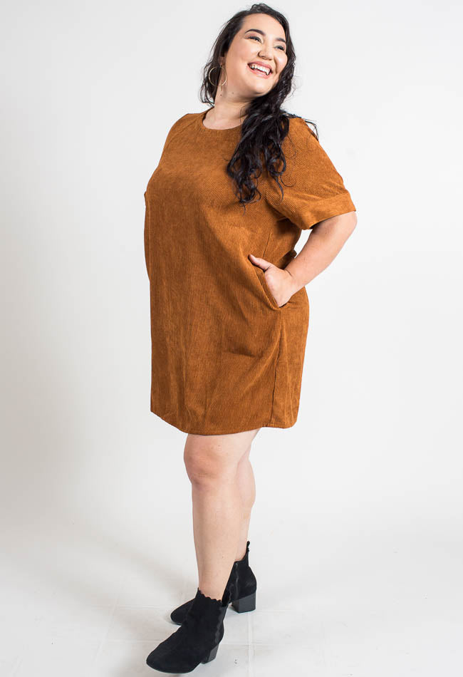 Caramel Corduroy Tunic Dress- Common Assembly