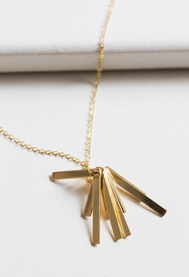 18k Gold Plated Folding Fan Necklace