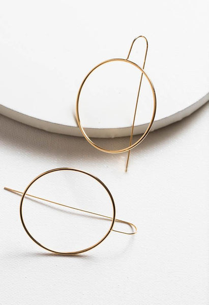 Circle Bar Earring- 18k Gold Plated