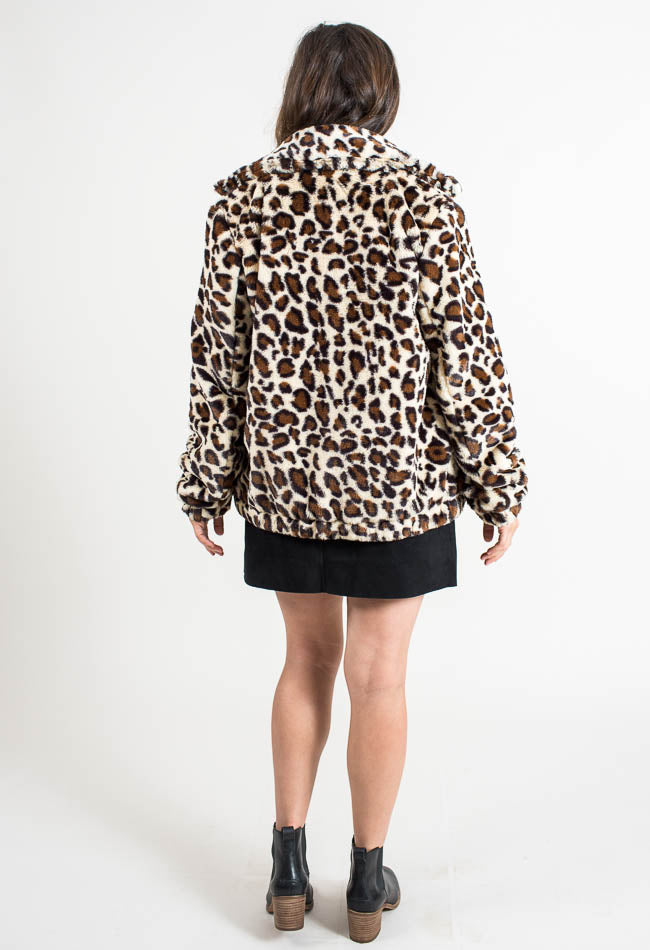 Loveable Leopard Faux Fur Jacket- Common Assembly