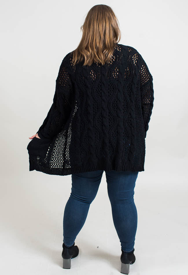 Open Weave Cardi- Black- Common Assembly
