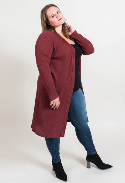 Ribbed Rose Cardi- Red- Common Assembly