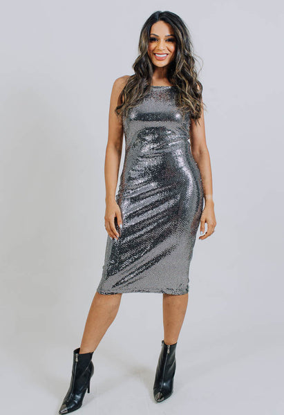 Disco Slip Dress- Silver- Common Assembly