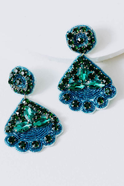Beryl Beaded Petal Earrings