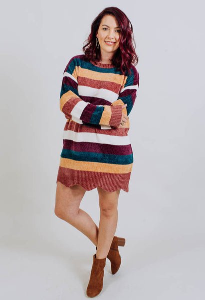 Soft Stripes Sweater Dress- Common Assembly