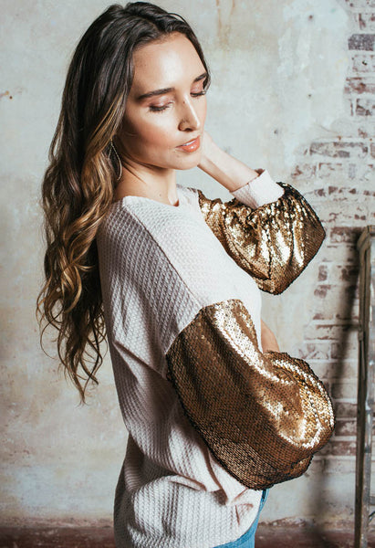 Golden Bell-Sleeved Top