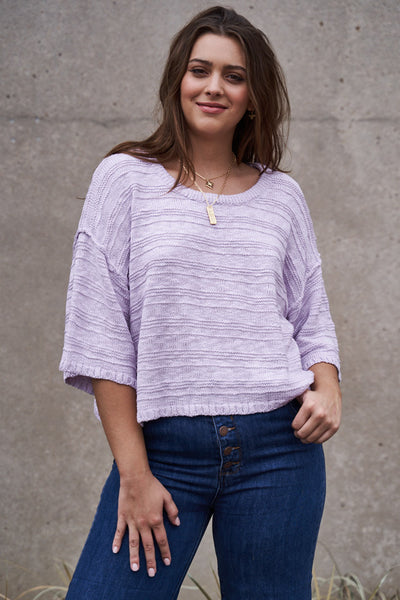 Lavishly Lavender Textured Knit Sweater