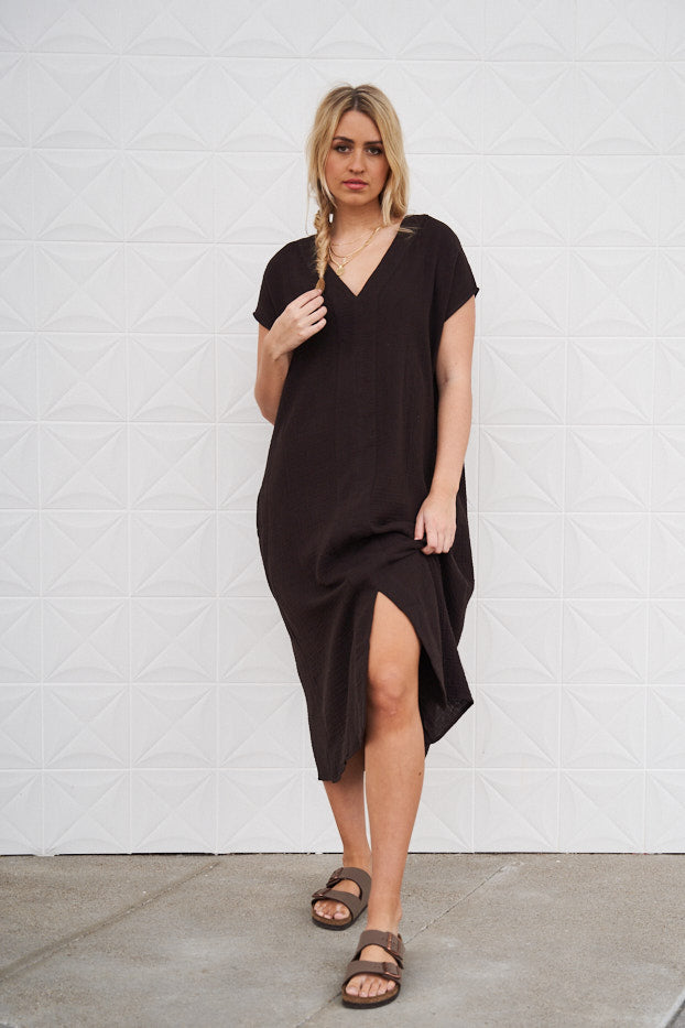 Cotton Double Gauze Column Dress