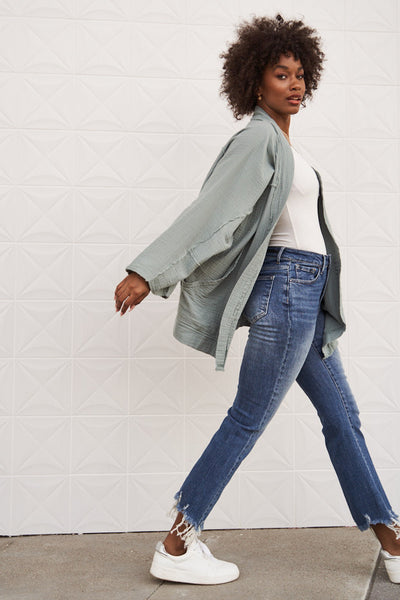 High-Rise Ankle Flare Jeans