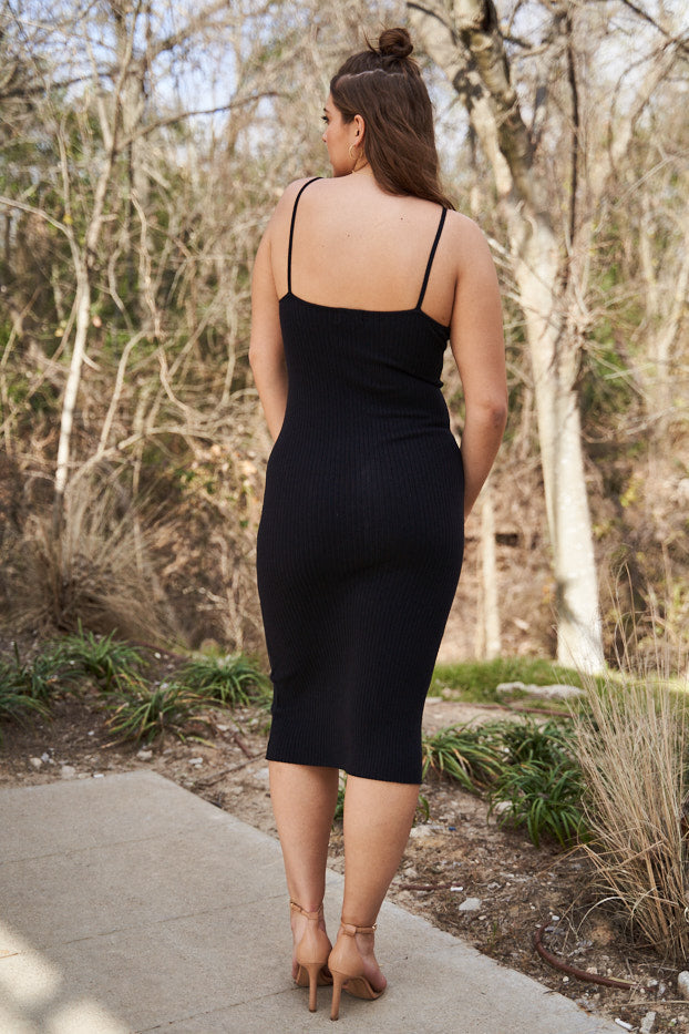 Straight Neck Ribbed Bodycon Dress