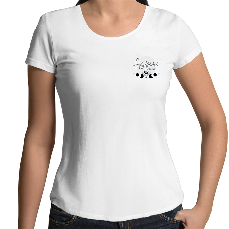 Hand Drawn Redhead Art - Womens Scoop Neck Classic White Tee