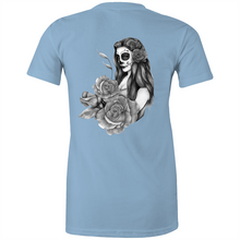 Load image into Gallery viewer, Sugar Skull - Fitted tee back print lights greyscale