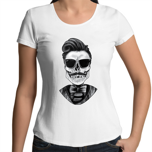 Dapper Skull Scoop Neck Tee - Front print