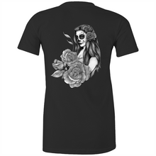 Load image into Gallery viewer, Sugar Skull fitted tee - greyscale back print