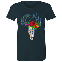 Load image into Gallery viewer, Deer Skull fitted front print tee - dark