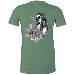 Sugar Skull fitted tee - greyscale back print