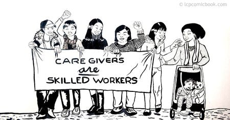 an illustration of women holding a banner that says caregivers are skilled workers