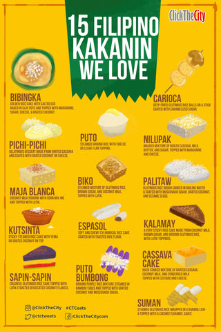 A yellow infrographic that explains 15 Filipino Kakanin We Love.