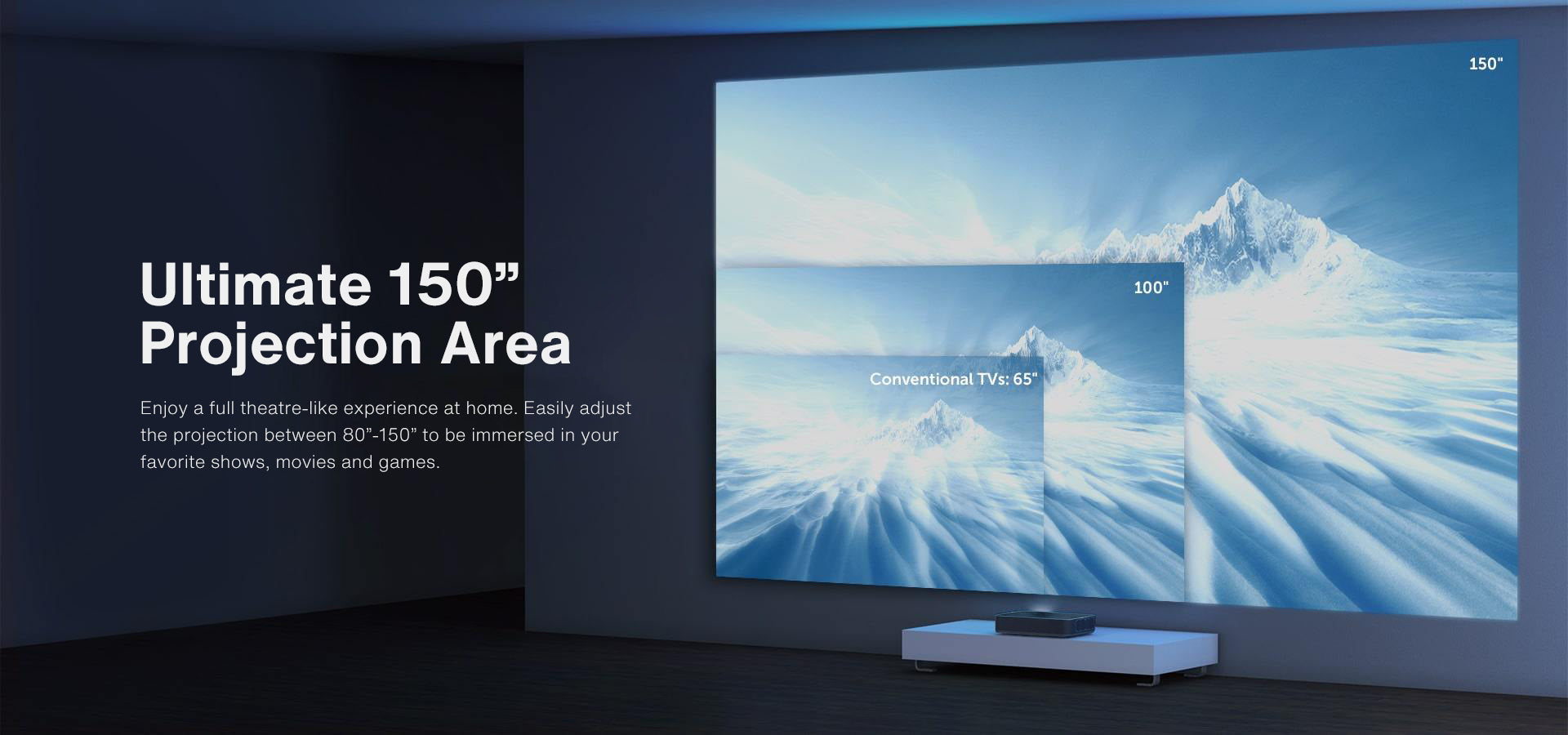 Ultimate 150'' Projection Area Enjoy a full theatre-like experience at home. Easily adjust the protection between 80'' - 150'' to be immersed in your favorite shows, movies and games.