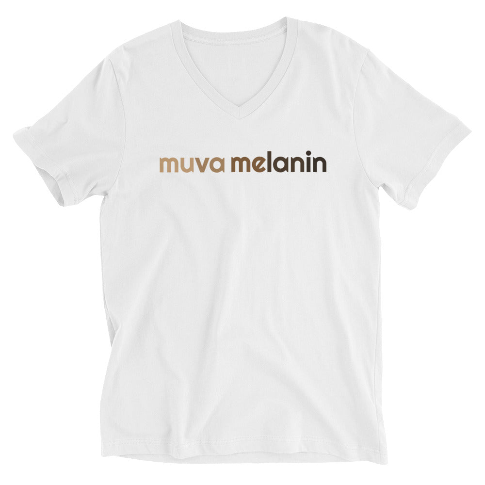Muva Melanin Unisex Short Sleeve V-Neck T-Shirt