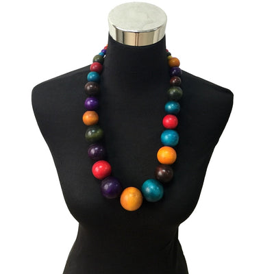 Colorful Unique Wood Beads Exaggerated Necklace