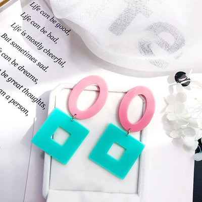 Big Long Drop Earrings Round Plastic Square Acrylic Beautiful